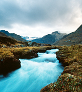 Blue Andean mountain stream.