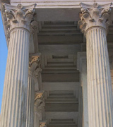 Photo of marble columns at the Baha'i world center.
